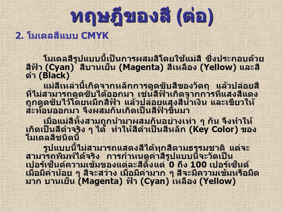 ทฤษฎีของสี ( ต่อ ) 2. โมเดลสีแบบ CMYK โมเดลสีรูปแบบนี้เป็นการผสมสีโดยใช้แม่สี ซึ่งประกอบด้วย สีฟ้า (Cyan) สีบานเย็น (Magenta) สีเหลือง (Yellow) และสี