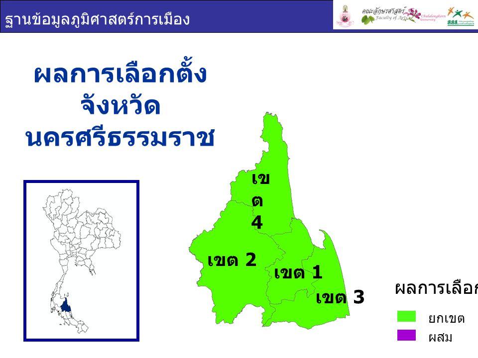 ฐานข้อมูลภูมิศาสตร์การเมือง เขต 1 เขต 2 เข ต 4 เขต 3 ผลการเลือกตั้ง จังหวัด นครศรีธรรมราช ยกเขต ผสม ผลการเลือกตั้ง