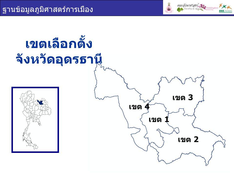 ฐานข้อมูลภูมิศาสตร์การเมือง เขตเลือกตั้ง จังหวัดอุดรธานี เขต 1 เขต 2 เขต 3 เขต 4