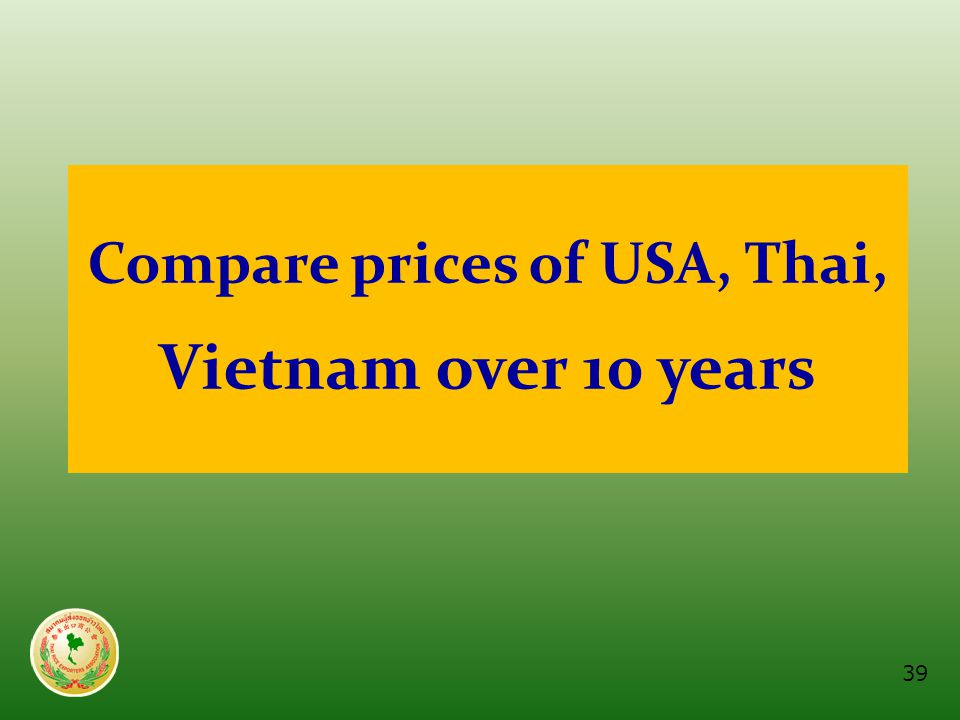 Compare prices of USA, Thai, Vietnam over 10 years 39
