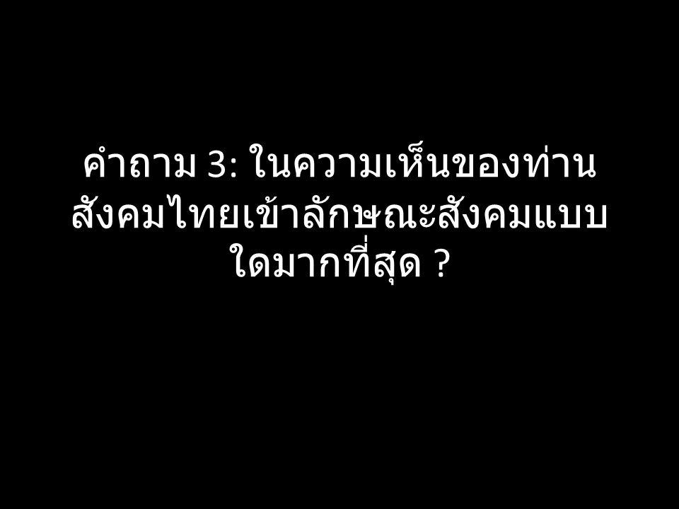 คำถาม 3: ในความเห็นของท่าน สังคมไทยเข้าลักษณะสังคมแบบ ใดมากที่สุด