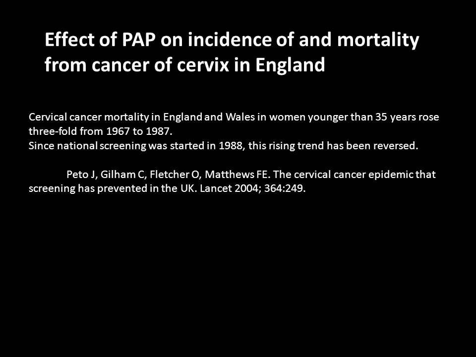 Cervical cancer mortality in England and Wales in women younger than 35 years rose three-fold from 1967 to 1987.