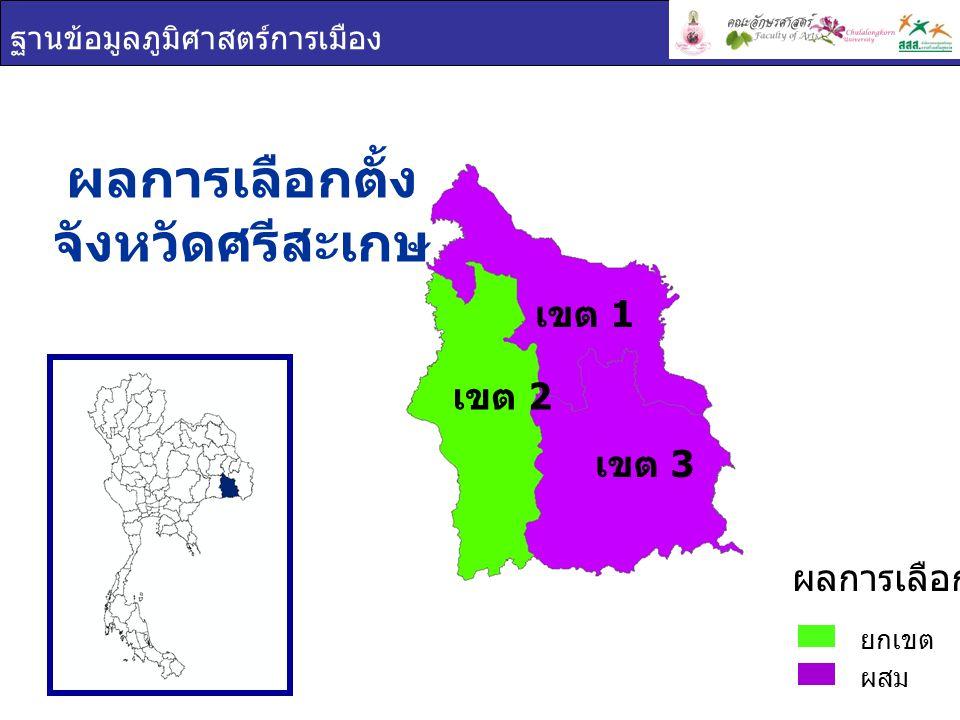 ฐานข้อมูลภูมิศาสตร์การเมือง ผลการเลือกตั้ง จังหวัดศรีสะเกษ ยกเขต ผสม ผลการเลือกตั้ง เขต 1 เขต 2 เขต 3
