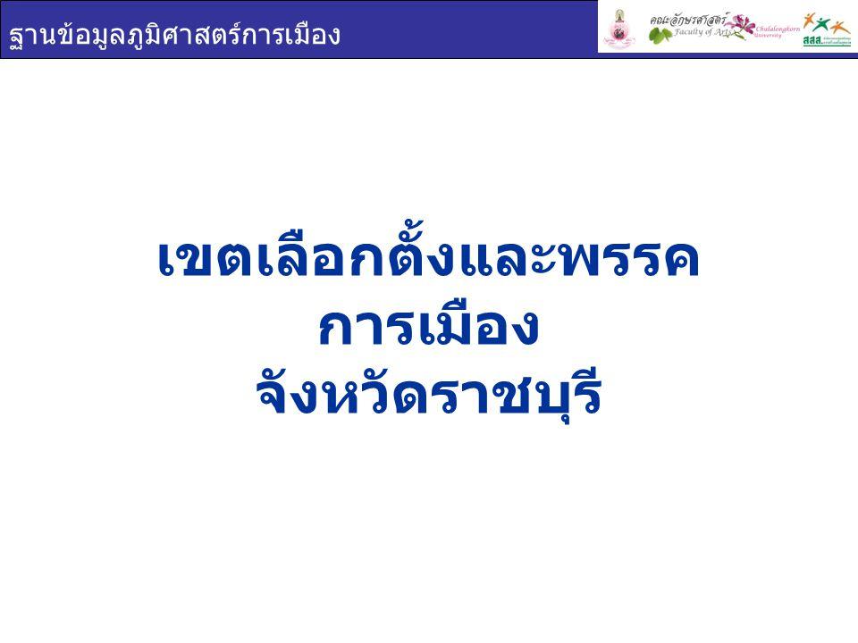 ฐานข้อมูลภูมิศาสตร์การเมือง เขตเลือกตั้งและพรรค การเมือง จังหวัดราชบุรี