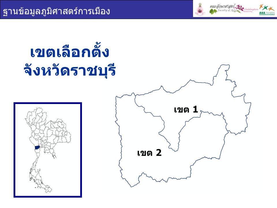 ฐานข้อมูลภูมิศาสตร์การเมือง เขต 1 เขต 2 การใช้สิทธิเลือกตั้ง จังหวัด ราชบุรี เขตผู้มีสิทธิเลือกตั้งผู้ใช้สิทธิเลือกตั้งร้อยละผู้ใช้สิทธิ เลือกตั้ง ราชบุรี 597,975478,90380.09 เขต 1 366,427294,83480.46 เขต 2 231,548184,06979.49 ผู้มาใช้สิทธิเลือกตั้ง ผู้ไม่มาใช้สิทธิเลือกตั้ง ผลรวม 80.09% 19.91%