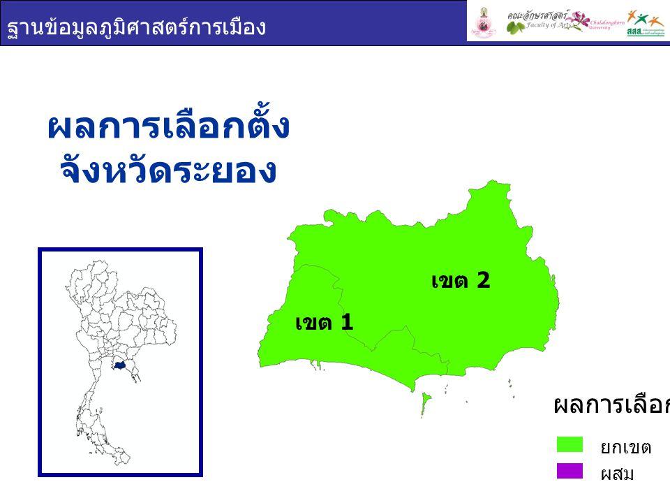 ฐานข้อมูลภูมิศาสตร์การเมือง ผลการเลือกตั้ง จังหวัดระยอง ยกเขต ผสม ผลการเลือกตั้ง เขต 1 เขต 2
