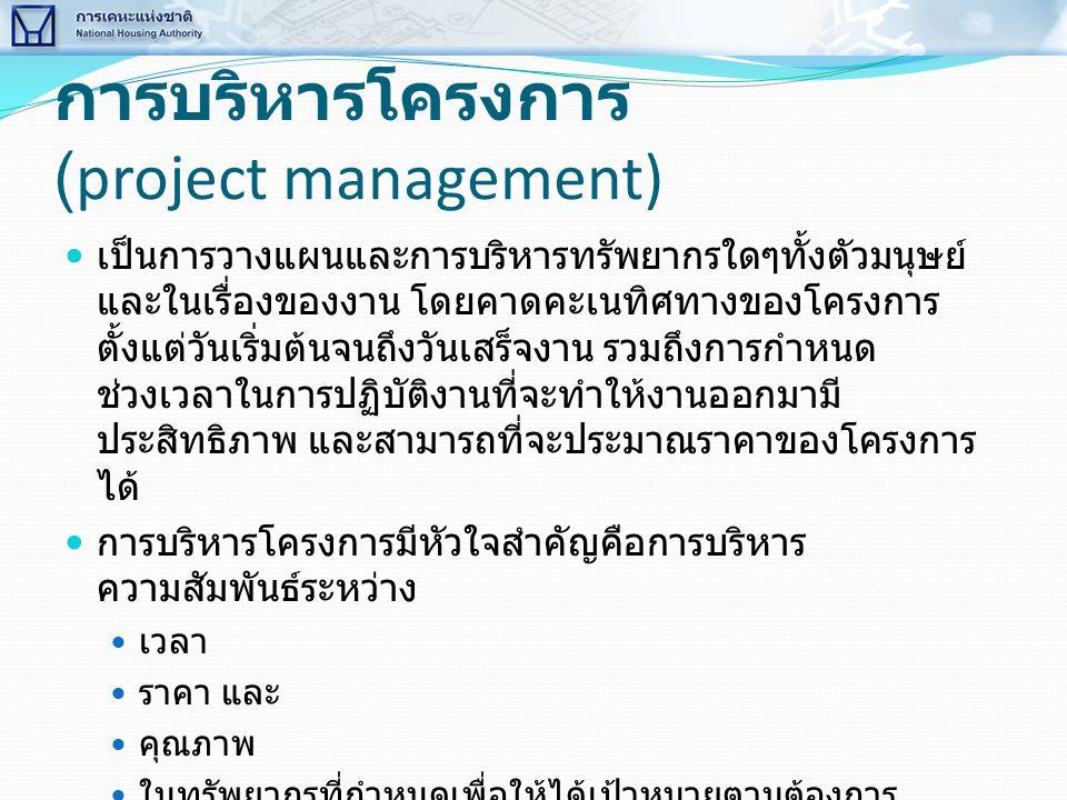 การบริหารโครงการ (project management)  เป็นการวางแผนและการบริหารทรัพยากรใดๆทั้งตัวมนุษย์ และในเรื่องของงาน โดยคาดคะเนทิศทางของโครงการ ตั้งแต่วันเริ่ม