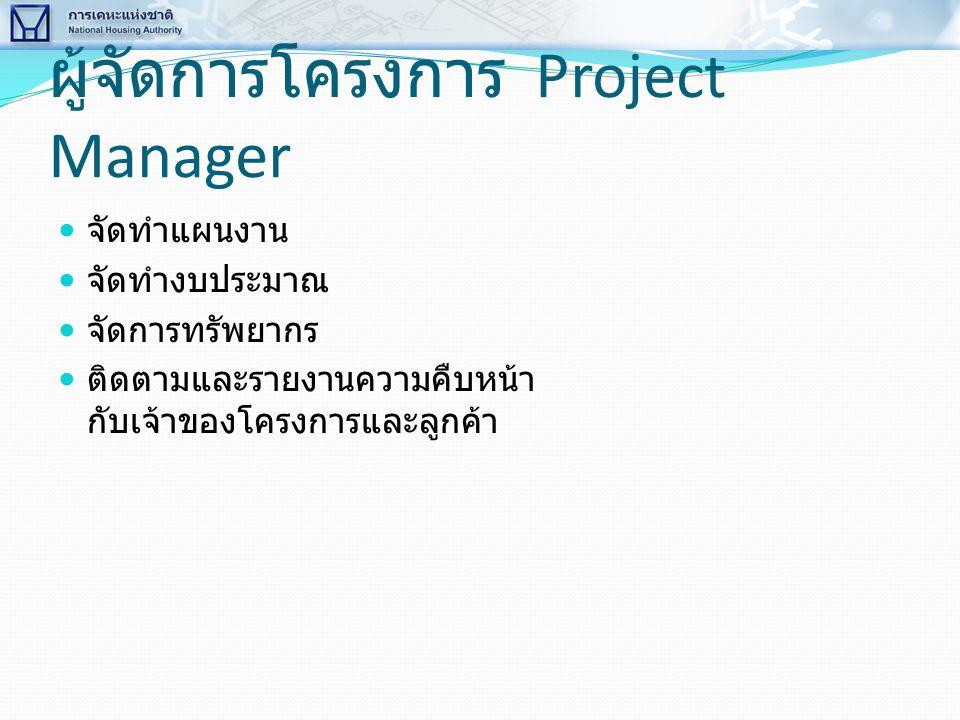 ผู้จัดการโครงการ Project Manager  จัดทำแผนงาน  จัดทำงบประมาณ  จัดการทรัพยากร  ติดตามและรายงานความคืบหน้า กับเจ้าของโครงการและลูกค้า