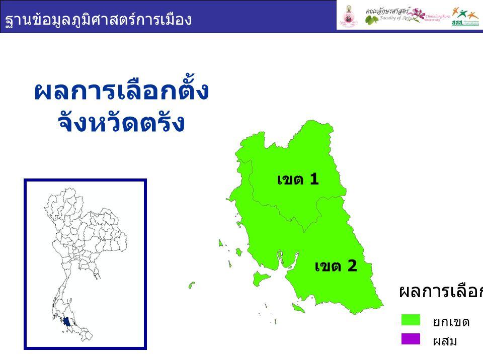 ฐานข้อมูลภูมิศาสตร์การเมือง เขต 1 พรรคการเมือง จังหวัดตรัง ประชาธิปัตย์ ยกเขต ผสม ผลการเลือกตั้ง เขต 2