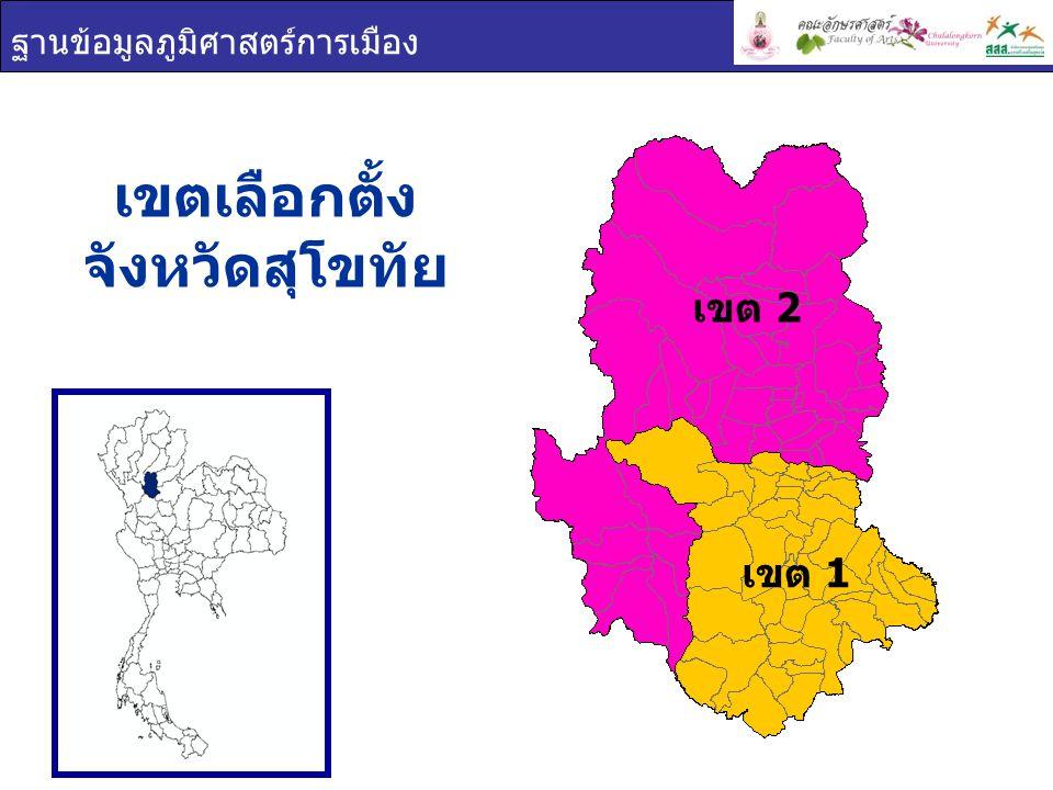 ฐานข้อมูลภูมิศาสตร์การเมือง เขต 1 เขต 2 เขตเลือกตั้ง จังหวัดสุโขทัย