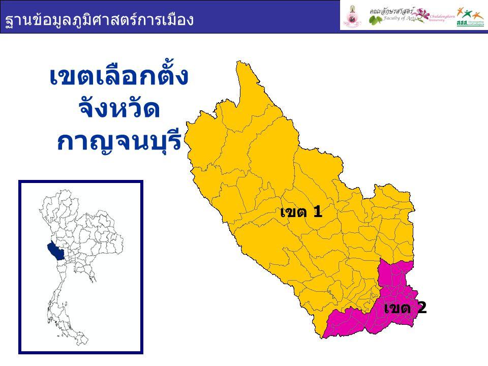 ฐานข้อมูลภูมิศาสตร์การเมือง เขตเลือกตั้ง จังหวัด กาญจนบุรี เขต 1 เขต 2