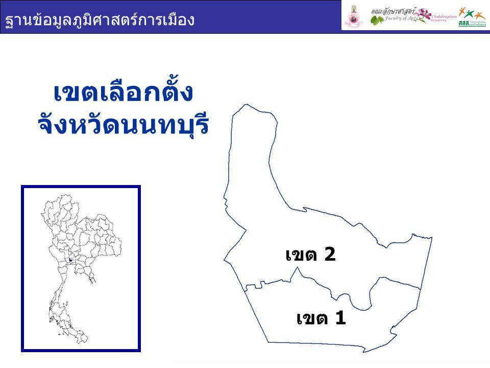 ฐานข้อมูลภูมิศาสตร์การเมือง เขตเลือกตั้ง จังหวัดนนทบุรี เขต 1 เขต 2