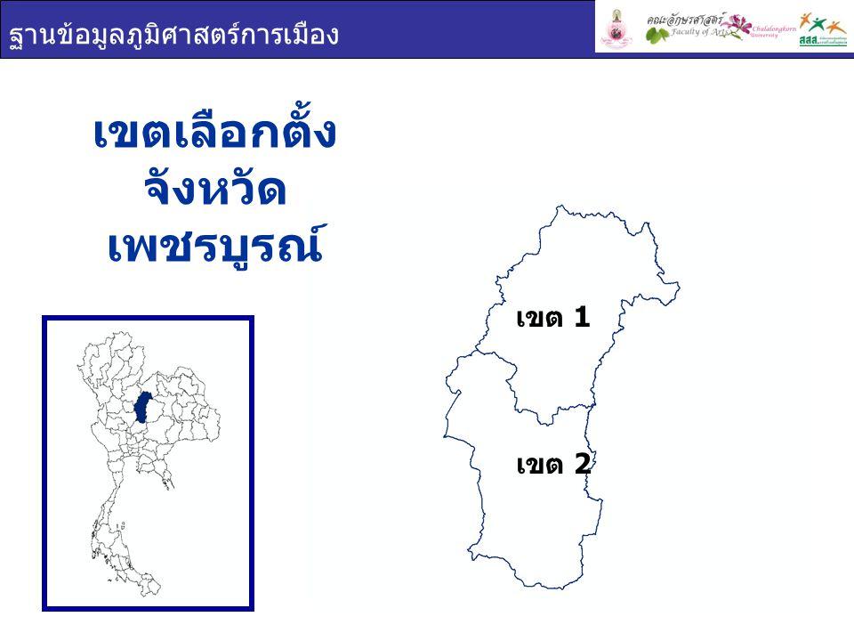 ฐานข้อมูลภูมิศาสตร์การเมือง เขตเลือกตั้ง จังหวัด เพชรบูรณ์ เขต 2 เขต 1