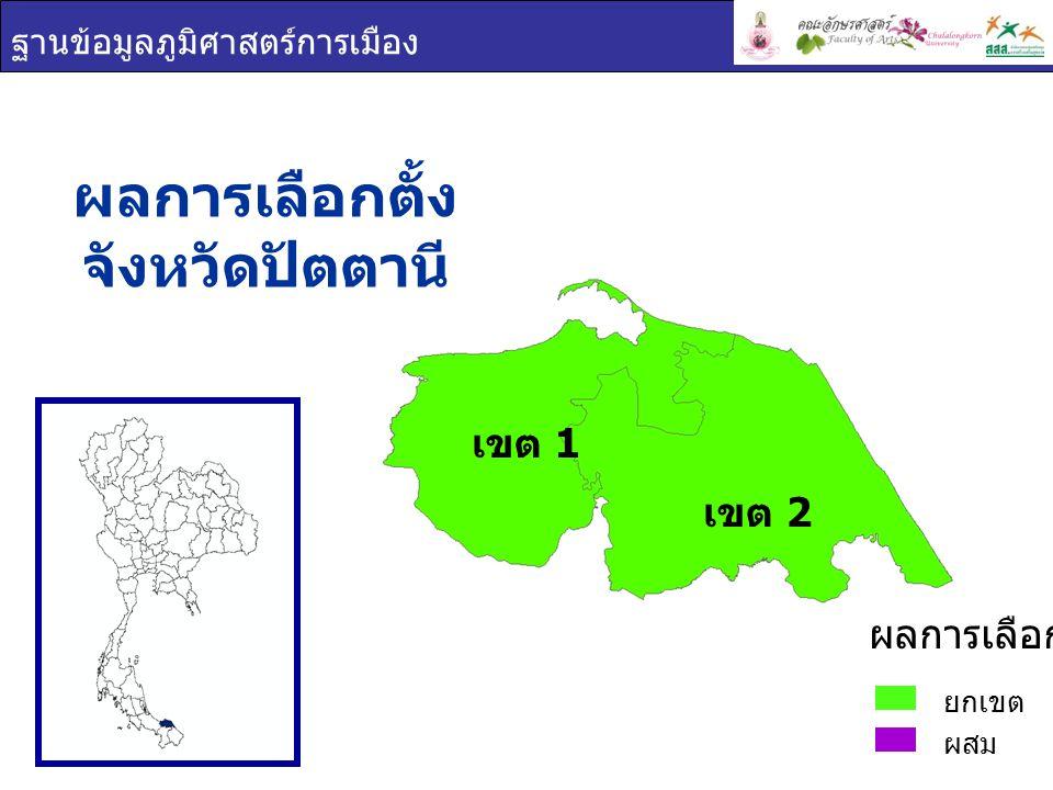 ฐานข้อมูลภูมิศาสตร์การเมือง ผลการเลือกตั้ง จังหวัดปัตตานี ยกเขต ผสม ผลการเลือกตั้ง เขต 1 เขต 2