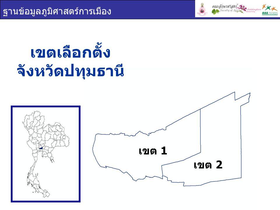 ฐานข้อมูลภูมิศาสตร์การเมือง การใช้สิทธิเลือกตั้ง จังหวัด ปทุมธานี เขตผู้มีสิทธิเลือกตั้งผู้ใช้สิทธิเลือกตั้งร้อยละผู้ใช้สิทธิ เลือกตั้ง ปทุมธานี 642,520478,27274.44 เขต 1 332,532253,69776.29 เขต 2 309,988224,57572.45 เขต 1 เขต 2 ผู้มาใช้สิทธิเลือกตั้ง ผู้ไม่มาใช้สิทธิเลือกตั้ง ผลรวม 74.44% 25.56%