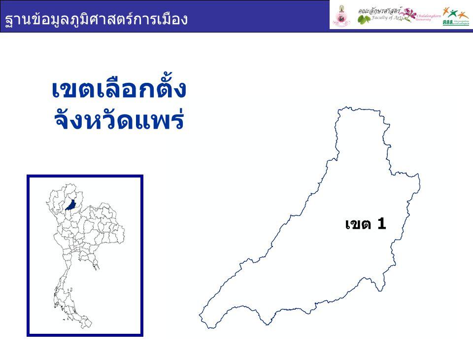 ฐานข้อมูลภูมิศาสตร์การเมือง เขตเลือกตั้ง จังหวัดแพร่ เขต 1