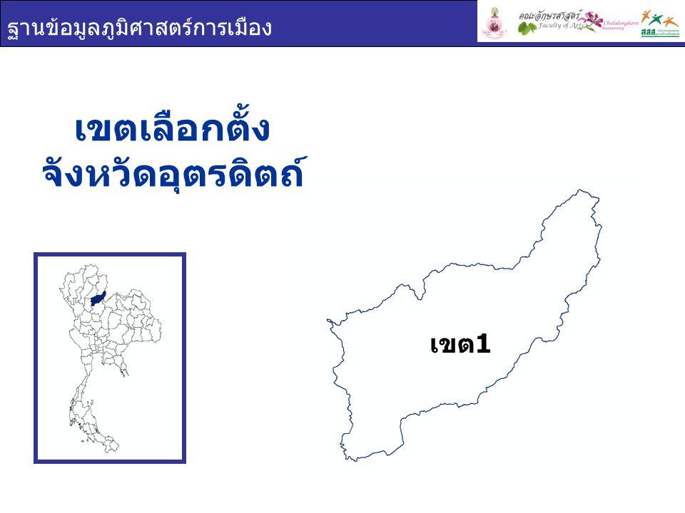 ฐานข้อมูลภูมิศาสตร์การเมือง เขตเลือกตั้ง จังหวัดอุตรดิตถ์ เขต 1