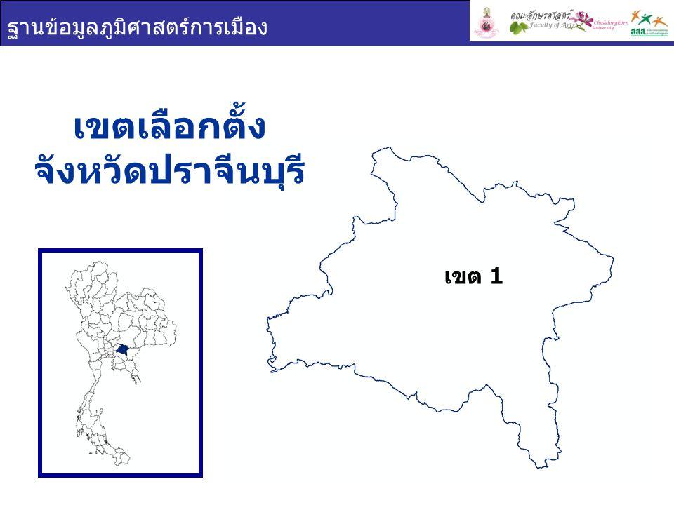 ฐานข้อมูลภูมิศาสตร์การเมือง เขต 1 การใช้สิทธิเลือกตั้ง จังหวัด ปราจีนบุรี เขตผู้มีสิทธิเลือกตั้งผู้ใช้สิทธิเลือกตั้งร้อยละผู้ใช้สิทธิเลือกตั้ง ปราจีนบุรี 305,045247,16381.03 เขต 1 305,045247,16381.03 ผู้มาใช้สิทธิเลือกตั้ง ผู้ไม่มาใช้สิทธิเลือกตั้ง ผลรวม 81.03% 18.97%