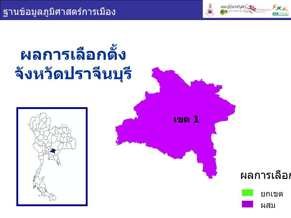 ฐานข้อมูลภูมิศาสตร์การเมือง ผลการเลือกตั้ง จังหวัดปราจีนบุรี ยกเขต ผสม ผลการเลือกตั้ง เขต 1