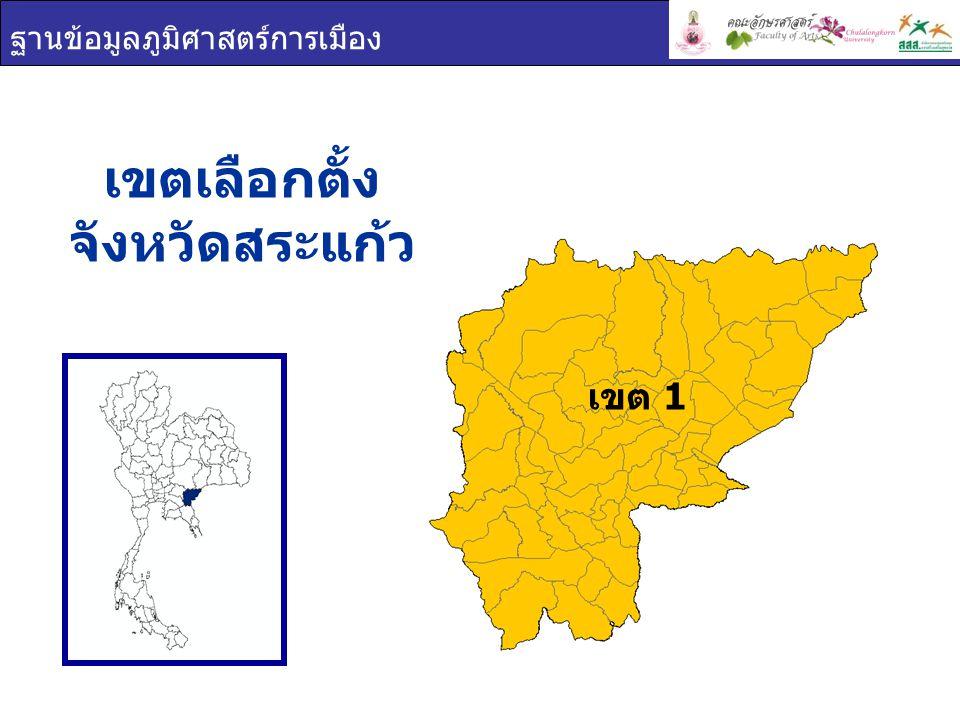 ฐานข้อมูลภูมิศาสตร์การเมือง เขต 1 เขตเลือกตั้ง จังหวัดสระแก้ว