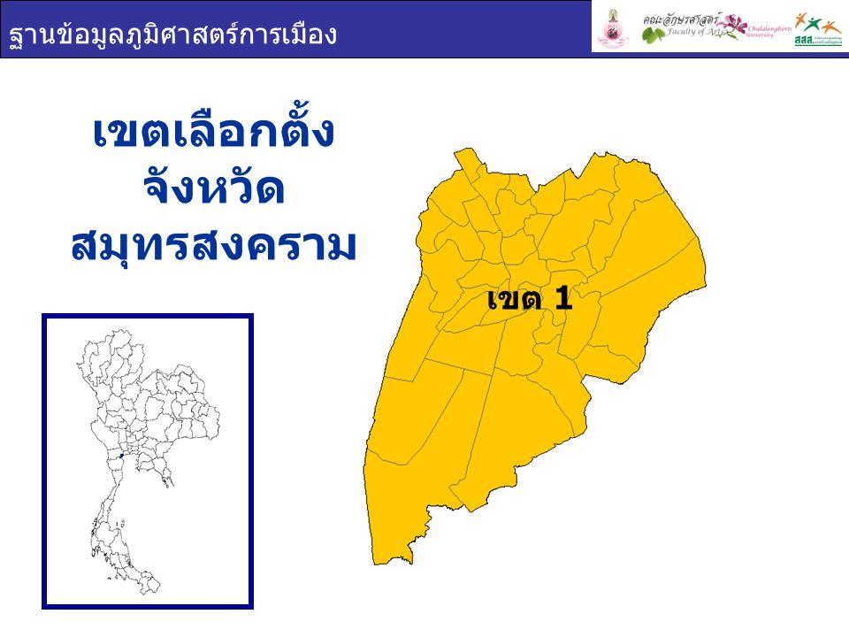 ฐานข้อมูลภูมิศาสตร์การเมือง เขต 1 เขตเลือกตั้ง จังหวัด สมุทรสงคราม
