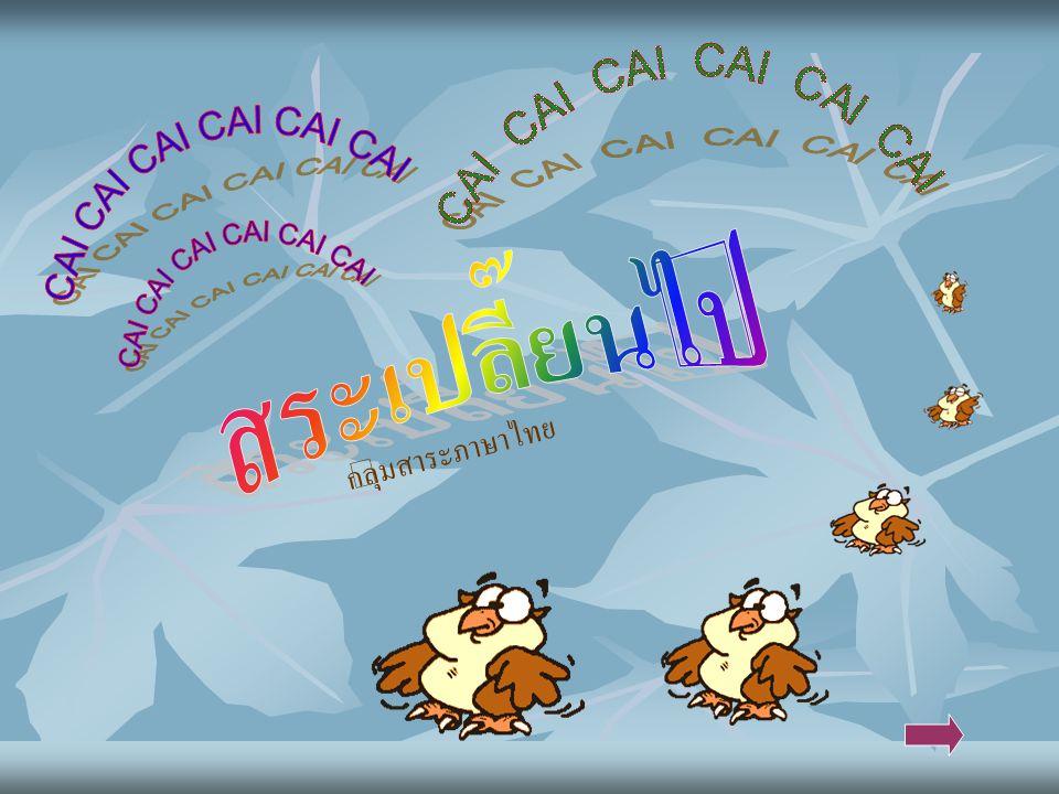  จุดประสงค์ ๑. ๑ บอกความหมายของสระในภาษาไทย ๑. ๒ รู้และเข้าใจสระเปลี่ยนรูปและสระลดรูป HOME