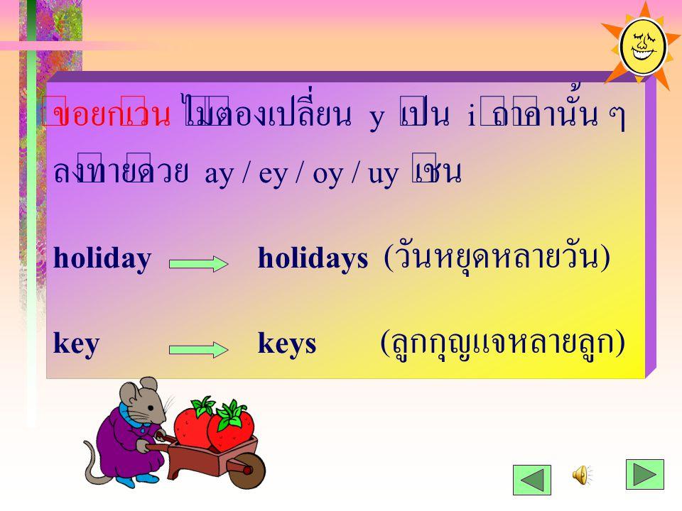 ข้อยกเว้น ไม่ต้องเปลี่ยน y เป็น i ถ้าคำนั้น ๆ ลงท้ายด้วย ay / ey / oy / uy เช่น holidayholidays (วันหยุดหลายวัน) keykeys (ลูกกุญแจหลายลูก)