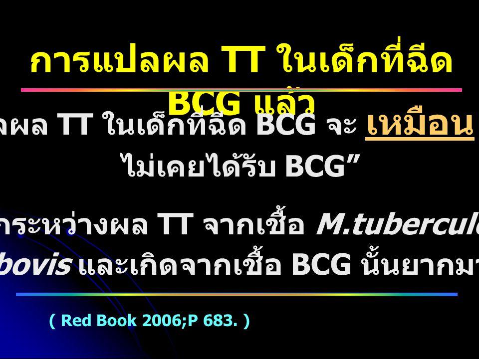 """การแปลผล TT ในเด็กที่ฉีด BCG แล้ว """" การแปลผล TT ในเด็กที่ฉีด BCG จะ เหมือน กับเด็กที่ ไม่เคยได้รับ BCG"""" """" การแยกระหว่างผล TT จากเชื้อ M.tuberculosis ห"""