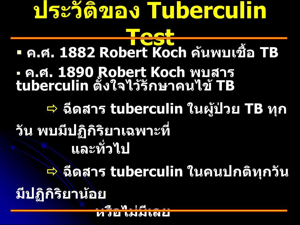 ประวัติของ Tuberculin Test   ค. ศ. 1882 Robert Koch ค้นพบเชื้อ TB   ค. ศ. 1890 Robert Koch พบสาร tuberculin ตั้งใจไว้รักษาคนไข้ TB  ฉีดสาร tuberc