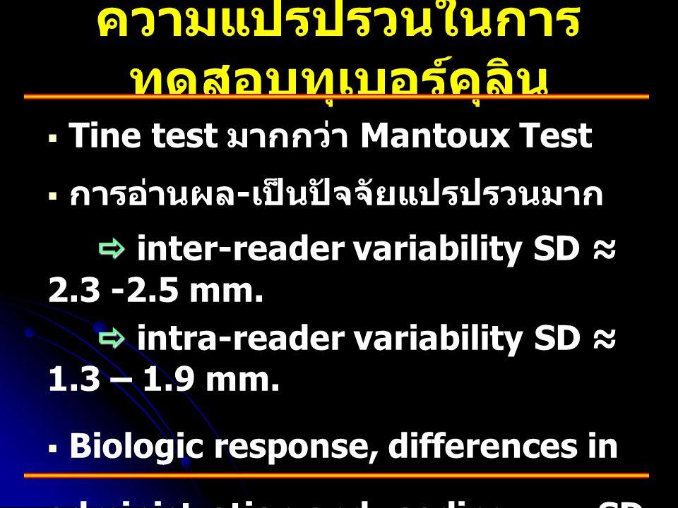 ความแปรปรวนในการ ทดสอบทุเบอร์คุลิน   Tine test มากกว่า Mantoux Test   การอ่านผล - เป็นปัจจัยแปรปรวนมาก   inter-reader variability SD ≈ 2.3 -2.5