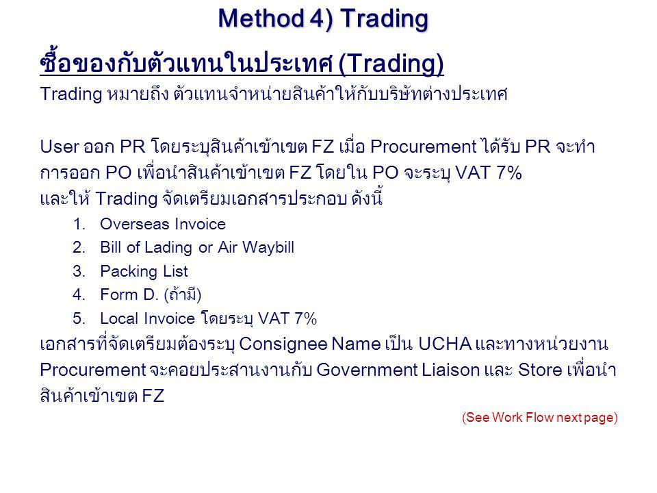 Method 4) Trading ซื้อของกับตัวแทนในประเทศ (Trading) Trading หมายถึง ตัวแทนจำหน่ายสินค้าให้กับบริษัทต่างประเทศ User ออก PR โดยระบุสินค้าเข้าเขต FZ เมื