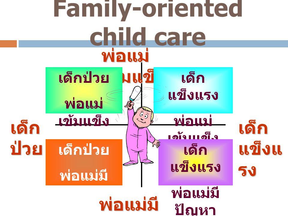Family-oriented child care พ่อแม่ เข้มแข็ง พ่อแม่มี ปัญหา เด็ก แข็งแ รง เด็ก ป่วย เด็ก แข็งแรง พ่อแม่ เข้มแข็ง เด็กป่วย พ่อแม่ เข้มแข็ง เด็ก แข็งแรง พ