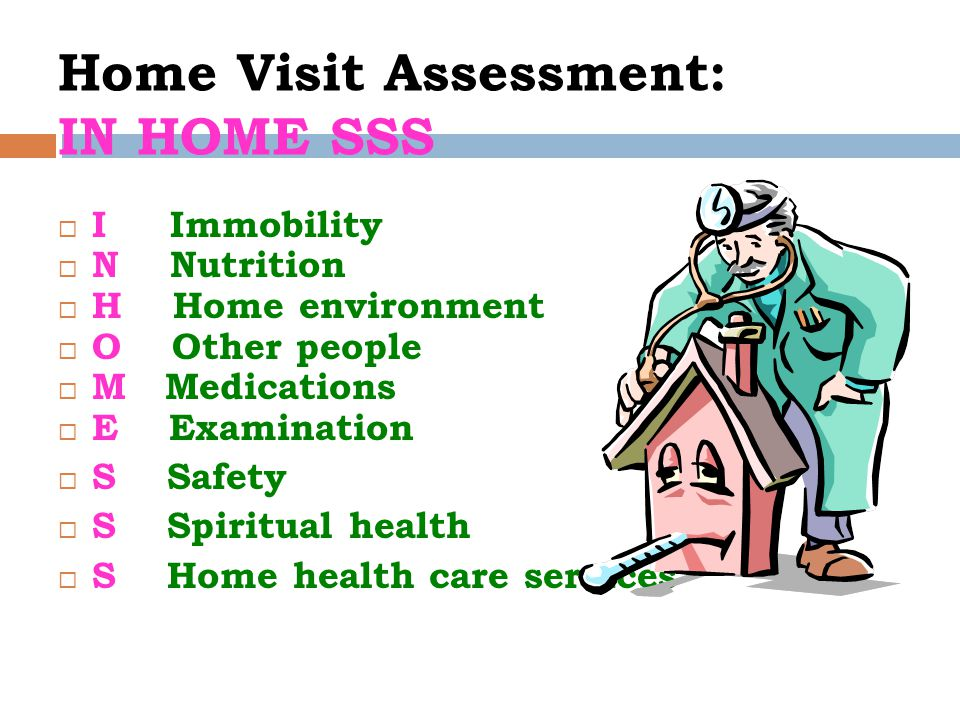 Home Visit Assessment: IN HOME SSS  I Immobility  N Nutrition  H Home environment  O Other people  M Medications  E Examination  S Safety  S Spiritual health  S Home health care services