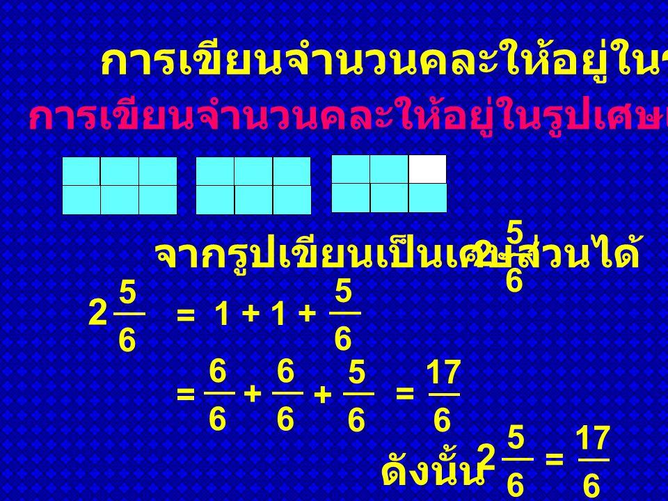 การเขียนจำนวนคละให้อยู่ในรูปเศษเกิน จากรูปเขียนเป็นเศษส่วนได้ 2 5 6 2 5 6 6 6 5 6 = + 6 6 + = 1 + 5 6 = 17 6 ดังนั้น 2 5 6 = 17 6