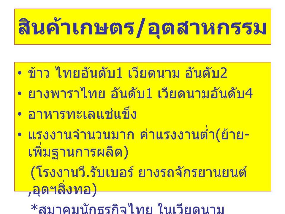 สินค้าเกษตร / อุตสาหกรรม • ข้าว ไทยอันดับ 1 เวียดนาม อันดับ 2 • ยางพาราไทย อันดับ 1 เวียดนามอันดับ 4 • อาหารทะเลแช่แข็ง • แรงงานจำนวนมาก ค่าแรงงานต่ำ ( ย้าย - เพิ่มฐานการผลิต ) ( โรงงานวี.