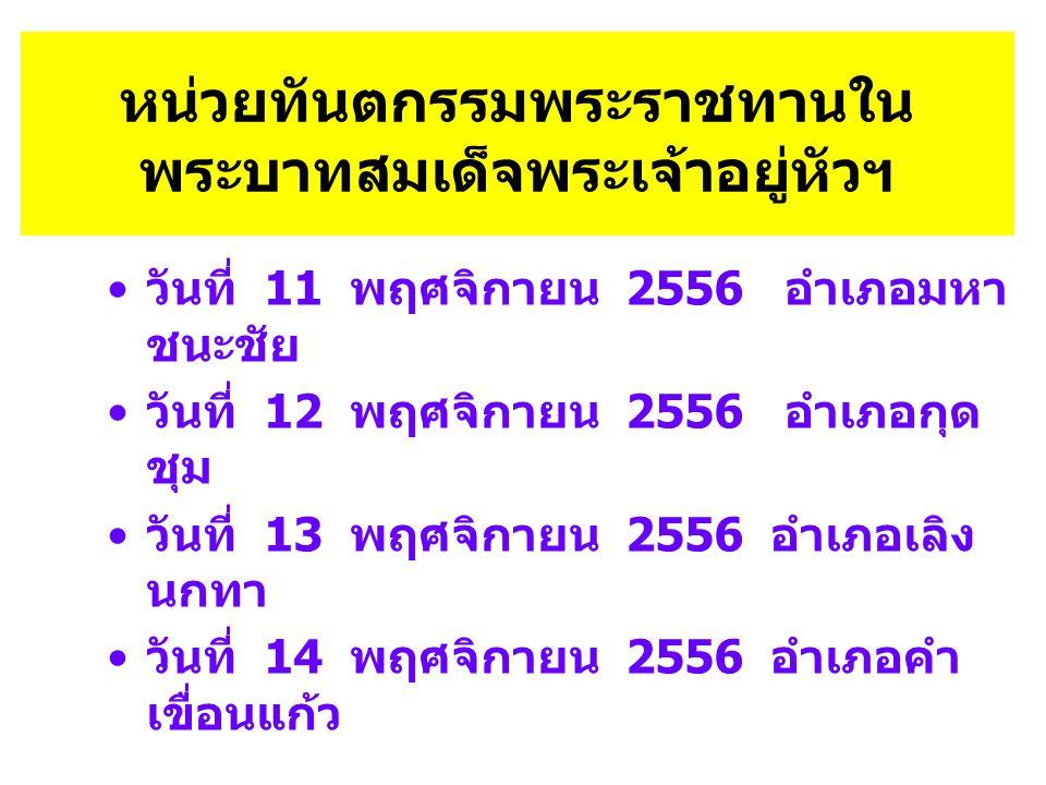 หน่วยทันตกรรมพระราชทานใน พระบาทสมเด็จพระเจ้าอยู่หัวฯ • วันที่ 11 พฤศจิกายน 2556 อำเภอมหา ชนะชัย • วันที่ 12 พฤศจิกายน 2556 อำเภอกุด ชุม • วันที่ 13 พฤศจิกายน 2556 อำเภอเลิง นกทา • วันที่ 14 พฤศจิกายน 2556 อำเภอคำ เขื่อนแก้ว