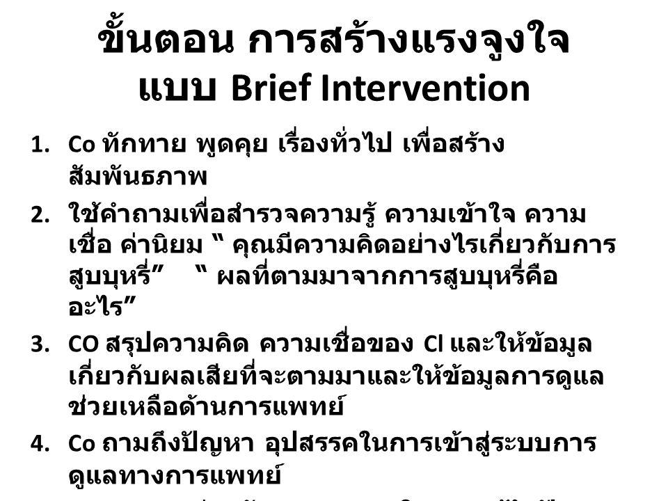 ขั้นตอน การสร้างแรงจูงใจ แบบ Brief Intervention 1.Co ทักทาย พูดคุย เรื่องทั่วไป เพื่อสร้าง สัมพันธภาพ 2.
