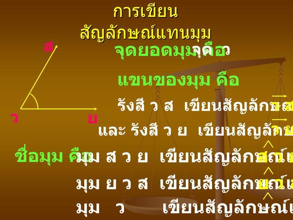 การเขียน สัญลักษณ์แทนมุม ส ว ย จุดยอดมุม คือ แขนของมุม คือ ชื่อมุม คือ จุด ว รังสี ว ส เขียนสัญลักษณ์แทนด้วย และ รังสี ว ย เขียนสัญลักษณ์แทนด้วย มุม ส ว ย เขียนสัญลักษณ์แทนด้วย มุม ย ว ส เขียนสัญลักษณ์แทนด้วย มุม ว เขียนสัญลักษณ์แทนด้วย ว สว ส ว ย ส ว ย ย ว ส ว