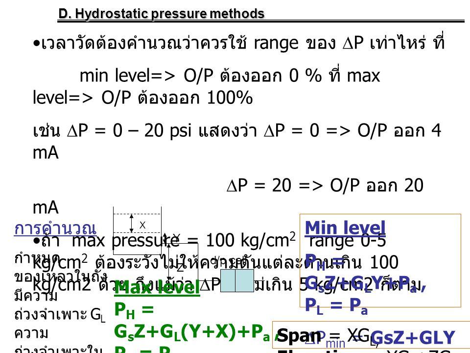 D. Hydrostatic pressure methods • เวลาวัดต้องคำนวณว่าควรใช้ range ของ  P เท่าไหร่ ที่ min level=> O/P ต้องออก 0 % ที่ max level=> O/P ต้องออก 100% เช