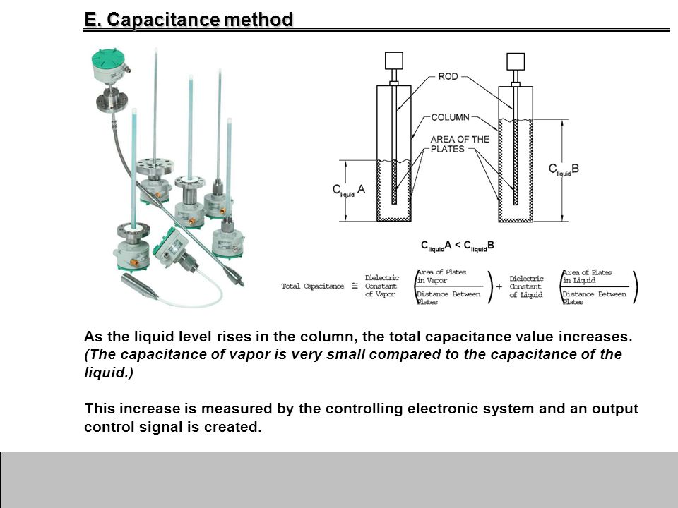 A. Introduction As the liquid level rises in the column, the total capacitance value increases. (The capacitance of vapor is very small compared to th
