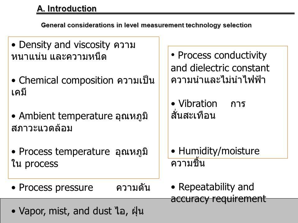 General considerations in level measurement technology selection • Density and viscosity ความ หนาแน่น และความหนืด • Chemical composition ความเป็น เคมี