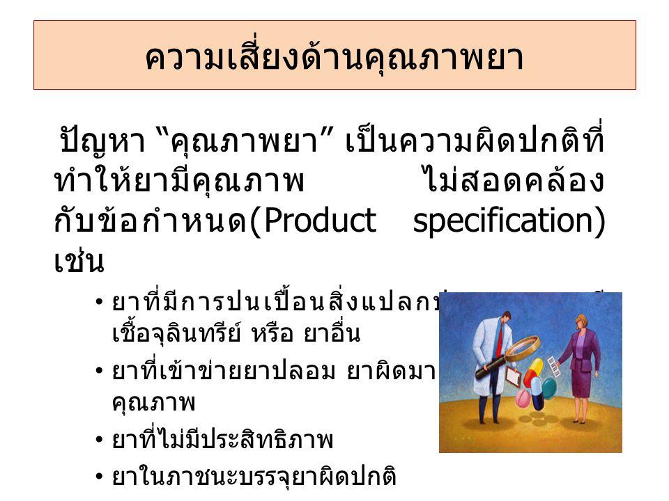 """ความเสี่ยงด้านคุณภาพยา ปัญหา """" คุณภาพยา """" เป็นความผิดปกติที่ ทำให้ยามีคุณภาพ ไม่สอดคล้อง กับข้อกำหนด (Product specification) เช่น • ยาที่มีการปนเปื้อน"""