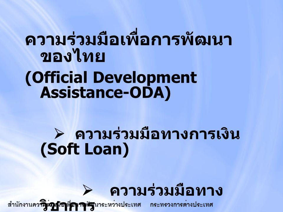 ความร่วมมือเพื่อการพัฒนา ของไทย (Official Development Assistance-ODA)  ความร่วมมือทางการเงิน (Soft Loan)  ความร่วมมือทาง วิชาการ (Technical Cooperat