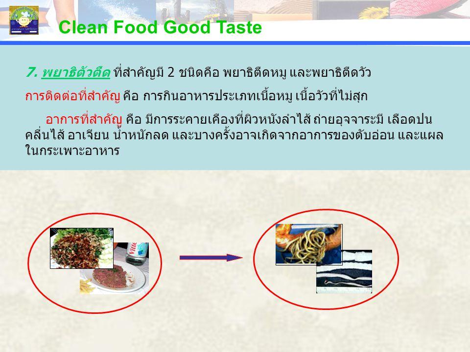 PERCENTAGE Clean Food Good Taste 7. พยาธิตัวตืด ที่สำคัญมี 2 ชนิดคือ พยาธิตืดหมู และพยาธิตืดวัว การติดต่อที่สำคัญ คือ การกินอาหารประเภทเนื้อหมู เนื้อว