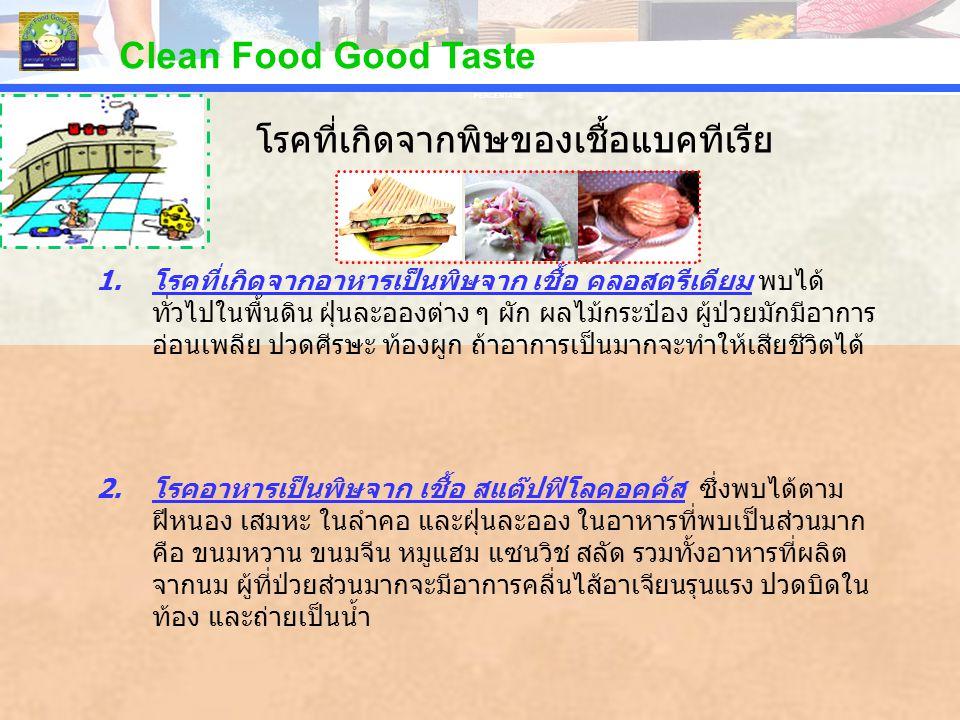 PERCENTAGE Clean Food Good Taste 1.โรคที่เกิดจากอาหารเป็นพิษจาก เชื้อ คลอสตรีเดียม พบได้ ทั่วไปในพื้นดิน ฝุ่นละอองต่าง ๆ ผัก ผลไม้กระป๋อง ผู้ป่วยมักมี
