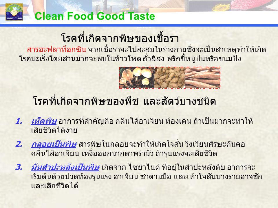 PERCENTAGE Clean Food Good Taste สารอะฟลาท็อกซิน จากเชื้อราจะไปสะสมในร่างกายซึ่งจะเป็นสาเหตุทำให้เกิด โรคมะเร็งโดยส่วนมากจะพบในข้าวโพด ถั่วลิสง พริกขี