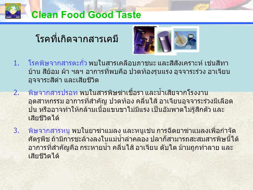 PERCENTAGE Clean Food Good Taste 1.โรคพิษจากสารตะกั่ว พบในสารเคลือบภาชนะ และสีสังเคราะห์ เช่นสีทา บ้าน สีย้อม ผ้า ฯลฯ อาการที่พบคือ ปวดท้องรุนแรง อุจจ
