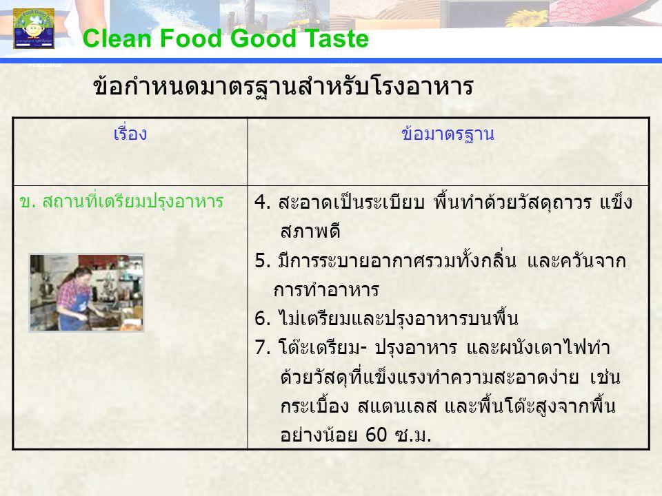 PERCENTAGE Clean Food Good Taste เรื่องข้อมาตรฐาน ข. สถานที่เตรียมปรุงอาหาร 4. สะอาดเป็นระเบียบ พื้นทำด้วยวัสดุถาวร แข็ง สภาพดี 5. มีการระบายอากาศรวมท