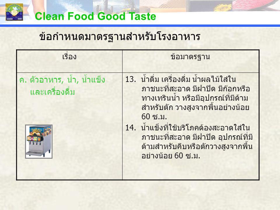 Clean Food Good Taste เรื่องข้อมาตรฐาน ค. ตัวอาหาร, น้ำ, น้ำแข็ง และเครื่องดื่ม 13. น้ำดื่ม เครื่องดื่ม น้ำผลไม้ใส่ใน ภาชนะที่สะอาด มีฝาปิด มีก๊อกหรือ