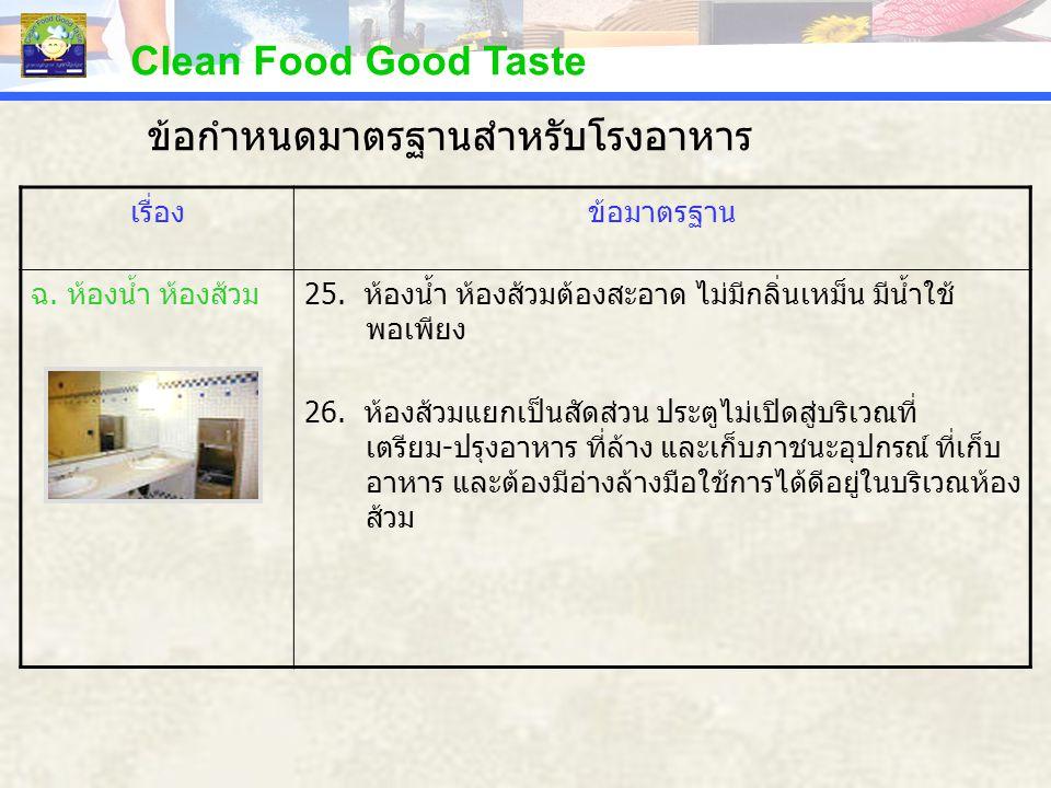 Clean Food Good Taste เรื่องข้อมาตรฐาน ฉ. ห้องน้ำ ห้องส้วม25. ห้องน้ำ ห้องส้วมต้องสะอาด ไม่มีกลิ่นเหม็น มีน้ำใช้ พอเพียง 26. ห้องส้วมแยกเป็นสัดส่วน ปร